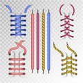 Shoe laces and boot lacing type icons on vector transparent background Royalty Free Stock Photo
