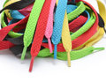 Shoe laces multi colored shoelaces on white background Royalty Free Stock Photo