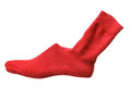 Shoe last with red sock on white background Stock Image
