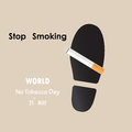 Shoe prints,foot prints and Quit Tobacco sign.May 31st World no