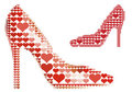 Shoe with red heart pattern, vector Royalty Free Stock Photos