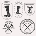 Shoe repair logo set Royalty Free Stock Photo