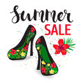 Shoe sale illustration elegant female shoes with a floral pattern on a high heel poster summer vector Royalty Free Stock Photos