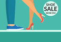 Shoe sale now shopping banner with human legs wearing shoe and boots
