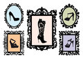 Shoe silhouettes in antique frames, vector set Royalty Free Stock Images