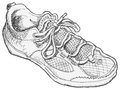 Shoe sketch pen and ink black and white drawing of a Stock Images