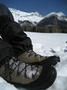 Shoe in Snow in Tirol / Tyrol Royalty Free Stock Photo