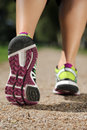 Shoe sole from a jogger while running jogging sports training or workout Stock Photo