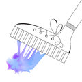 Shoe Steps into Blue Mesh Chewing Gum. Vector Sketch Royalty Free Stock Photo