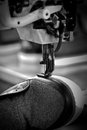 Shoe stitching machine process in footwear industry Royalty Free Stock Image