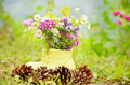Shoe vase with colorful forest flowers yellow Royalty Free Stock Photo