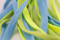 Shoelace sports isolated clothing accessories light green color blue white Royalty Free Stock Photo