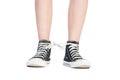 Shoelaces prank Royalty Free Stock Photo