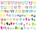Shoeprint, footprint, animal and bird trails Stock Images
