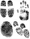 ShoePrints e Handprints Imagem de Stock Royalty Free