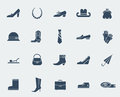 Shoes and accessories icons isolated on white fashion vector flat Royalty Free Stock Photo