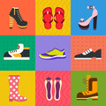 Shoes for all occasions vector flat icon set and illustrations Royalty Free Stock Photo