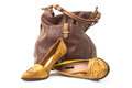 Shoes and bag leather footwear female brown Stock Photos
