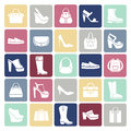 Shoes and bags icons in flat style Royalty Free Stock Photo
