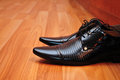Shoes black masculine shoe clothing and accessories Royalty Free Stock Photography