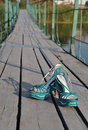 Shoes on a bridge Royalty Free Stock Photography