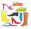 Shoes a bunch of different as silhouette Royalty Free Stock Image