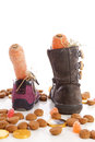 Shoes with carrots and ginger nuts for Sinterklaas, a typical Du Royalty Free Stock Photo