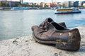 Shoes on the danube bank monument in budapest hungary was built memory of jews who were killed by fascist arrow cross Royalty Free Stock Images