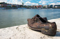 Shoes on the danube bank monument in budapest hungary was built memory of jews who were killed by fascist arrow cross Stock Photo
