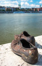 Shoes on the danube bank monument in budapest hungary was built memory of jews who were killed by fascist arrow cross Royalty Free Stock Photos