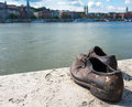 Shoes on the danube bank monument in budapest hungary was built memory of jews who were killed by fascist arrow cross Stock Images