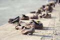 Shoes on the Danube embankment Royalty Free Stock Photo