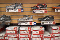 Shoes on display at a sporting goods store Stock Image