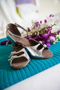 Shoes and flowers  Royalty Free Stock Images
