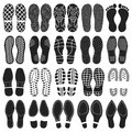 Shoes footprint vector set.