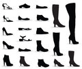 Shoes icon set. Silhouettes collection. Royalty Free Stock Photo
