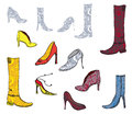 Shoes icons with patterns design set Royalty Free Stock Photo