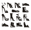 Shoes icons vector format author s illustration in Royalty Free Stock Photos