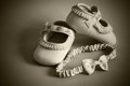 Shoes for little girl in sepia Stock Photography