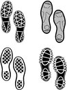 Shoes print black silhouettes of isolated on white eps Stock Photography