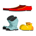 Shoes set. Old broken boots. Shoes for men long. Funny Clown sho Royalty Free Stock Photo