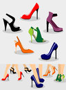 Shoes set of women and illustration with on legs Stock Photo