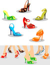 Shoes set of women and illustration with on legs Royalty Free Stock Photo