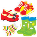 Shoes, socks, gumboots, boots Royalty Free Stock Images