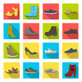 Shoes, style, heel and other types of shoes. Different shoes set collection icons in flat style vector symbol stock