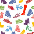Shoes vector background, seamless pattern. Multicolored sandals, boots, low shoe, ballet slippers, high boot, gumshoes Royalty Free Stock Photo