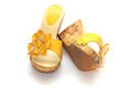 Shoes yellow on white blackground Stock Photography