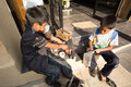 Shoeshine boys san cristóbal chiapas april mexico young arranging their tool box on the side of the street Royalty Free Stock Photography
