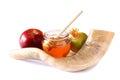 Shofar horn honey apple and pomegranate isolated on white rosh hashanah jewish holiday concept traditional holiday symbol Stock Image