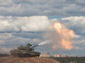 Shoot. Russian main battle tank. Royalty Free Stock Photography